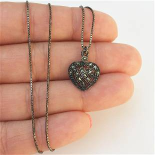 Sterling silver marcasites Heart pendant chain