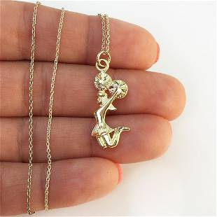 Gold plated sterling silver Cheerleader pendant chain