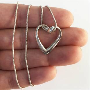 Sterling silver sliding heart pendant snake chain