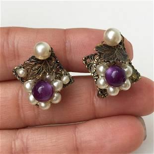 Bronze tone faux pearl amethyst color bead ear clips