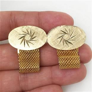 Vintage gold tone diamond cut Sun oval cufflinks