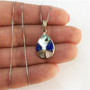 Sterling silver MOP Abalone Lapis pendant box chain