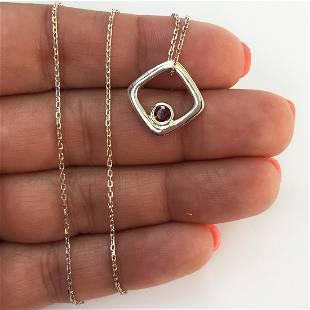 Sterling silver garnet birthstone pendant