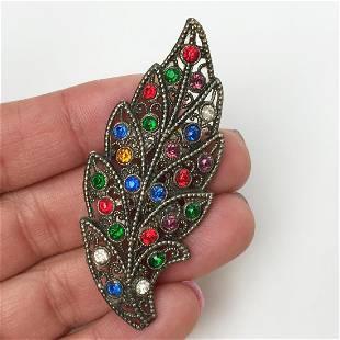 Bronze tone multicolor crystals Leaf shape brooch