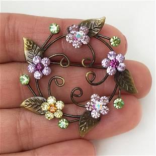 Bronze tone pink orange crystals Flower round brooch