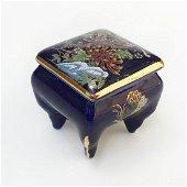 Vintage porcelain painted cobalt blue trinket box