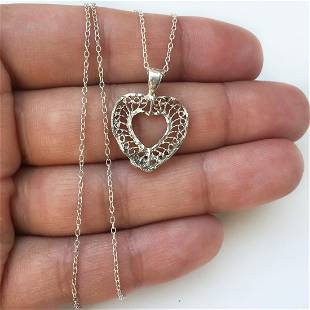 Sterling silver textured heart pendant chain necklace