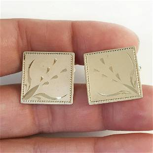 Vintage gold tone matte diamond cut square cufflinks