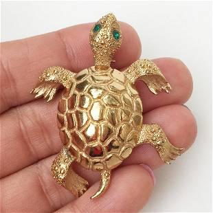 MONET Vintage gold tone green crystals Turtle brooch