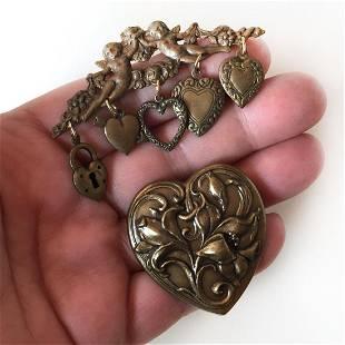 2 Bronze tone Heart shape and Cherub Angel brooches