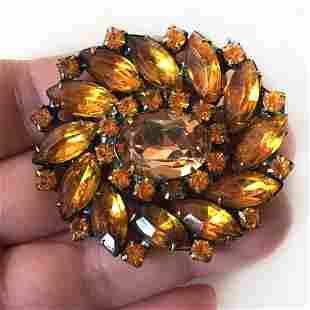 Vintage bronze color Flower brooch prong set crystals