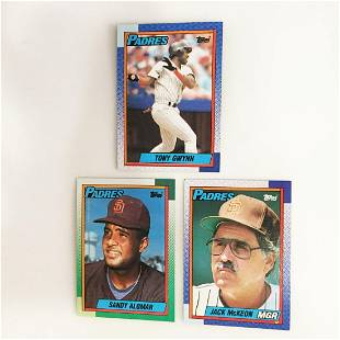 3 TOPPS 1990 Padres baseball cards