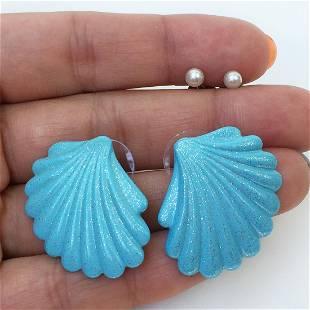 Lot of 2 Blue enamel shell and faux pearl stud earrings