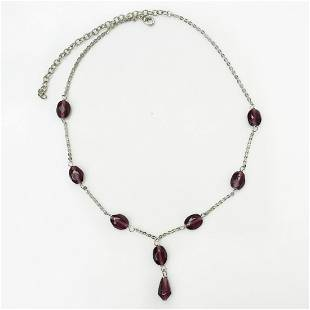 Silver tone garnet color faceted beads necklace