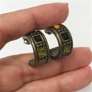 Bronze tone citrine color, peridot color hoop earrings
