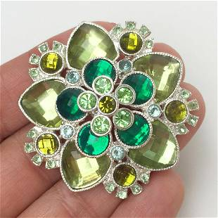 Silver tone checkerboard faceted crystals Flower brooch