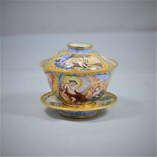 A Copper Enamel Painted Bowl and Cover