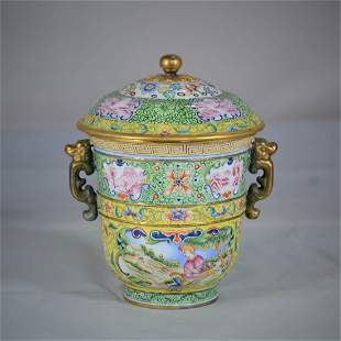 A Copper Enamel Cup and Cover