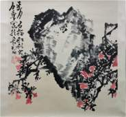 A Chinese Flowers&bird Painting Scroll, Shi Lu Mark