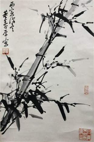 A Chinese Bamboo Painting Paper Scroll, Dong Shouping