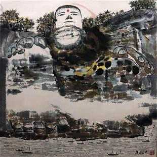 A Chinese Buddha Painting Paper Scroll, Wu Guanzhong