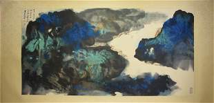 A Chinese Landscape Painting Paper Scroll, Zhang Daqian