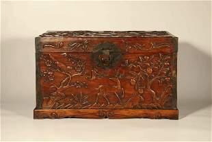 A Carved Huanghuali Fu&Shou Book Box