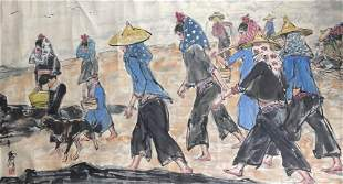 A Chinese Female Fisherman Painting Paper, Huang Zhou