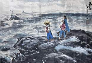 A Chinese Female Painting Paper, Huang Zhou Mark