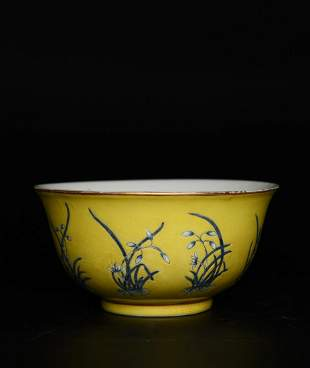 A Yellow-Ground Famille Rose Orchid Bowl