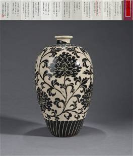 A CIZHOU KILN FLORAL MEIPING VASE