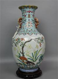 A CHINESE FAMILLE-ROSE VASE WITH DOUBLE EARS,DAOGUANG
