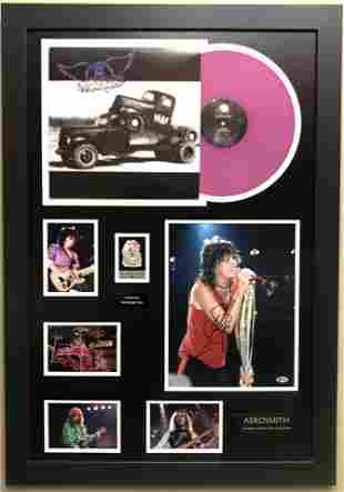 Aerosmith Collage signed by Steven Tyler w/BAS COA