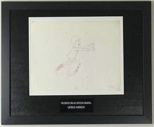 Beatles 1965-69 Cartoon - Framed G Harrison Cel Drawing