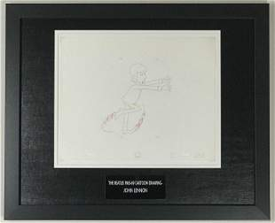 Beatles 1965-69 Cartoon - Framed J Lennon Cel Drawing