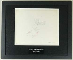 Beatles 1965-69 Cartoon - Framed McCartney Cel Drawing