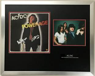 AC/DC album collage signed by Angus and Malcolm Young