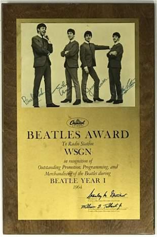Beatles 1964 Capitol Records Radio Award - RARE