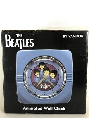 Beatles Animated Cartoon Wall Clock - New In Box
