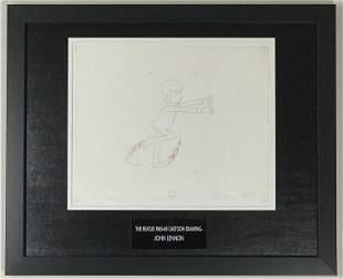Beatles 1965-69 Cartoon - Framed John Lennon Cel