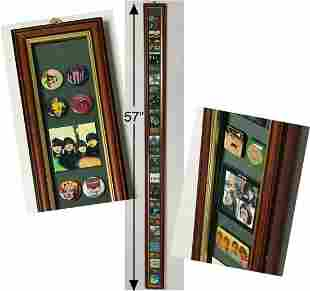 "Beatles Vintage 38 Pins Collage- 57"" Tall Display Frame"