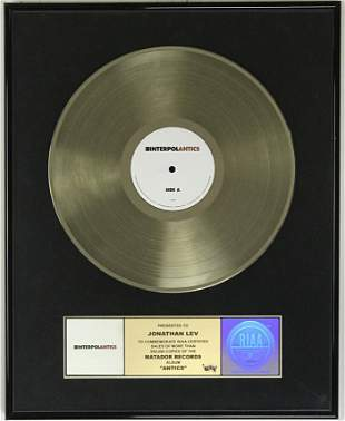 Interpol Antics RIAA Gold Album Award