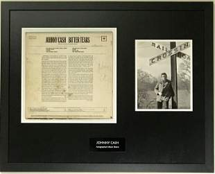 Johnny Cash album collage signed by Cash w/PSA COA