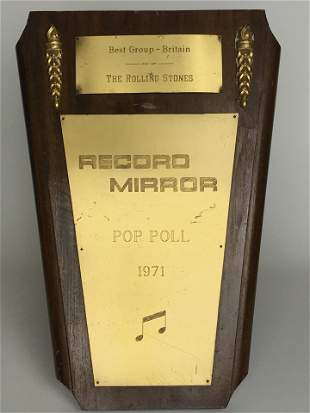 Rolling Stones 1971 UK Award owned by Bill Wyman