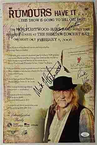 Mick Fleetwood Signed Concert Poster 2008 w/ JSA COA