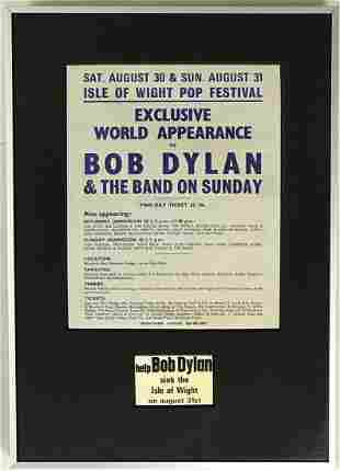 Bob Dylan 1969 Isle Of Wight Pop Fest Original Poster