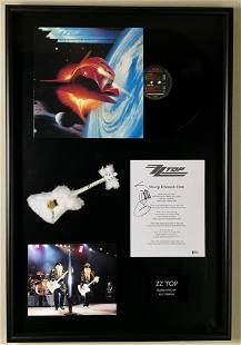 ZZ Top Lyrics Collage Signed by Billy Gibbons w/BAS COA