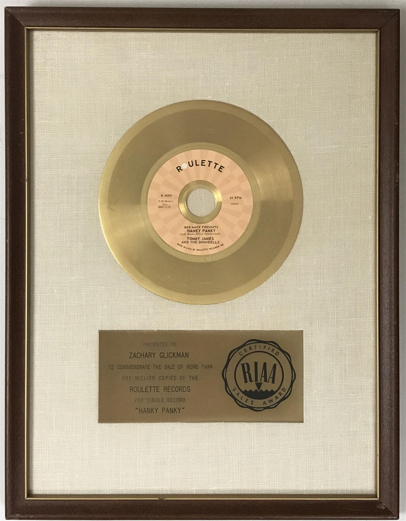 "Tommy James & the Shondells ""Hanky Panky"" RIAA Gold"