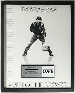 """Tim McGraw """"Artist Of The Decade"""" Curb Records Label"""