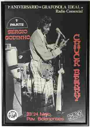 Chuck Berry Vintage 80s Concert Poster - Framed